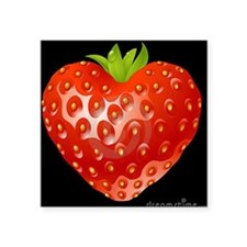 "STRABERRY HEART Square Sticker 3"" x 3"""