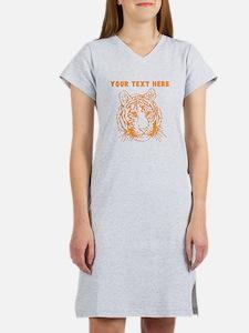 Custom Orange Tiger Face Women's Nightshirt