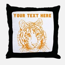 Custom Orange Tiger Face Throw Pillow