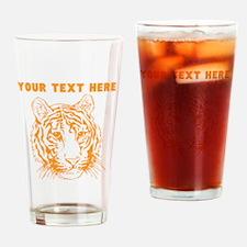 Custom Orange Tiger Face Drinking Glass