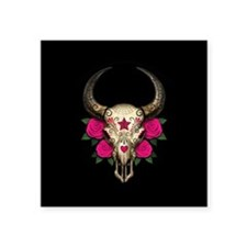 Pink Day of the Dead Bull Sugar Skull Black Sticke