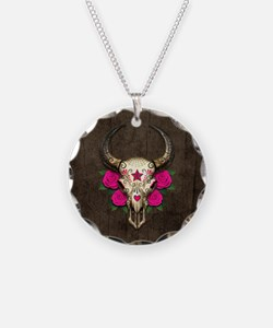 Pink Day of the Dead Bull Sugar Skull Wood Necklac