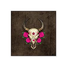 Pink Day of the Dead Bull Sugar Skull Wood Sticker