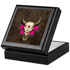 Pink Day of the Dead Bull Sugar Skull Wood Keepsak