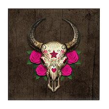 Pink Day of the Dead Bull Sugar Skull Wood Tile Co