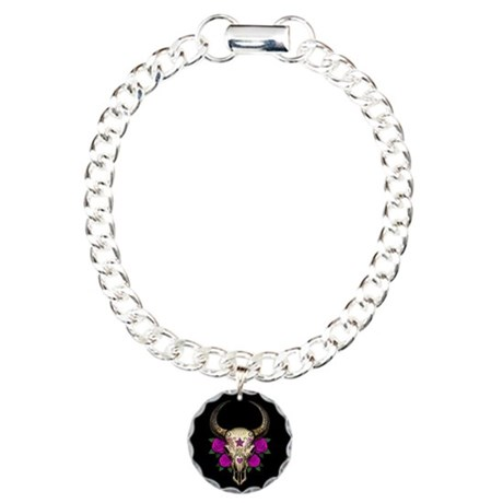 Purple Day of the Dead Bull Sugar Skull Black Char