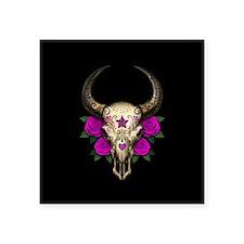Purple Day of the Dead Bull Sugar Skull Black Stic