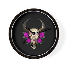 Purple Day of the Dead Bull Sugar Skull Black Wall