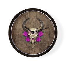 Purple Day of the Dead Bull Sugar Skull Wood Wall
