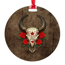 Red Day of the Dead Bull Sugar Skull Wood Ornament
