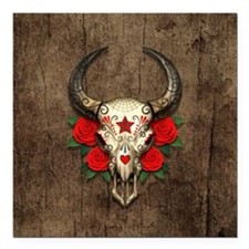 Red Day of the Dead Bull Sugar Skull Wood Square C