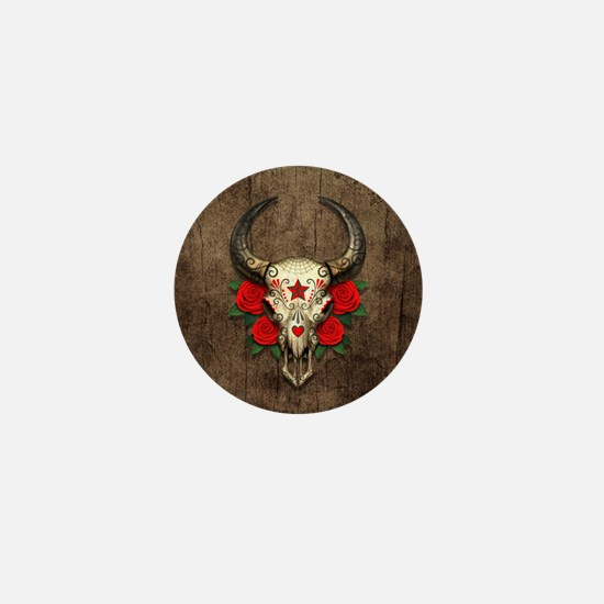 Red Day of the Dead Bull Sugar Skull Wood Mini But