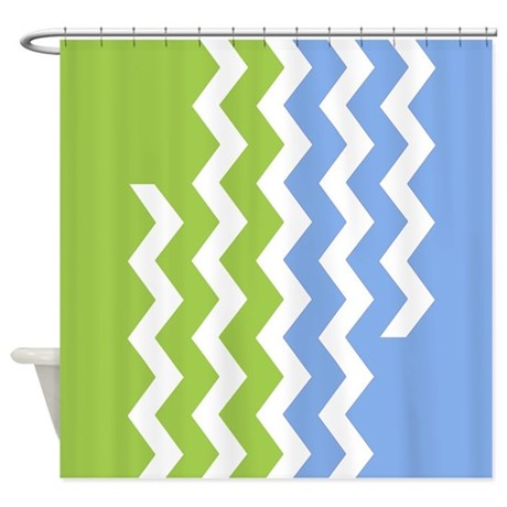 Chevrons   Green And Blue Shower Curtain