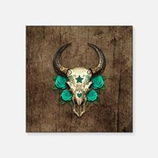 Teal Day of the Dead Bull Sugar Skull Wood Sticker