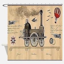 Railway Steampunk Shower Curtain