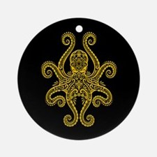 Intricate Black and Yellow Tribal Octopus Ornament