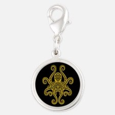 Intricate Black and Yellow Tribal Octopus Charms