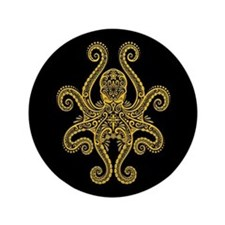 """Intricate Black and Yellow Tribal Octopus 3.5"""" But"""