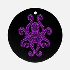 Intricate Purple and Black Tribal Octopus Ornament