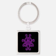 Intricate Purple and Black Tribal Octopus Keychain