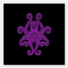 Intricate Purple and Black Tribal Octopus Square C
