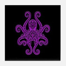 Intricate Purple and Black Tribal Octopus Tile Coa