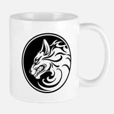 Growling White and Black Wolf Circle Mugs
