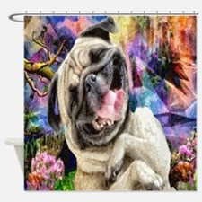Brown Pug Puppy Shower Curtain