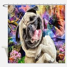 Happy Pug Shower Curtain