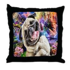 Brown Pug Puppy Throw Pillow