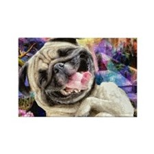 Brown Pug Puppy Rectangle Magnet