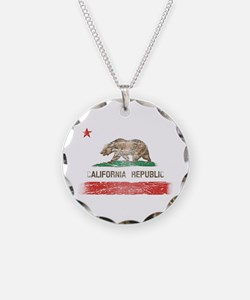 Distressed California Republic State Flag Necklace