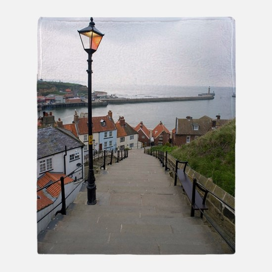 199 church steps in Whitby Throw Blanket