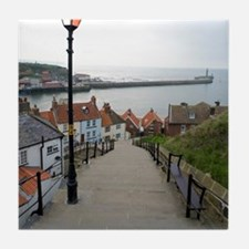 199 church steps in Whitby Tile Coaster