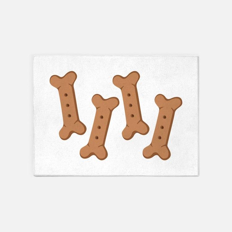 Puppy Dog Biscuits Bone Treats 5'x7'Area Rug
