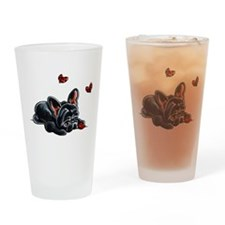 Black Frenchie Ladybug Drinking Glass