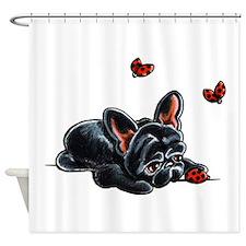 Black Frenchie Ladybug Shower Curtain