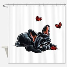 Black Frenchie Ladybug Shower Curtain