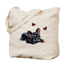 Black Frenchie Ladybug Tote Bag