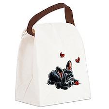 Black Frenchie Ladybug Canvas Lunch Bag