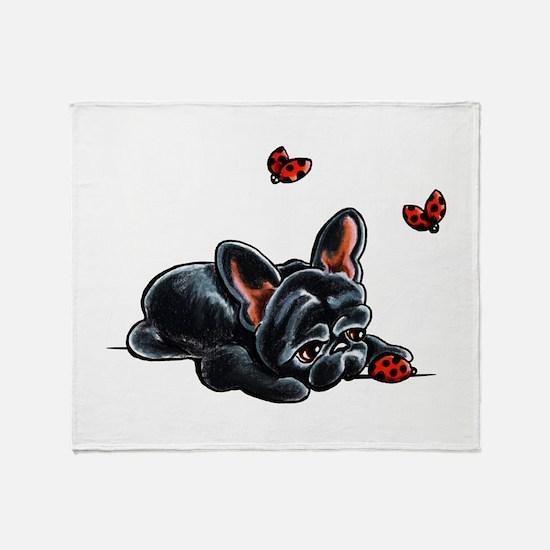 Black Frenchie Ladybug Throw Blanket