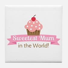 sweetest-mum-cupcake Tile Coaster