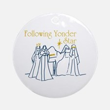 Following Yonder Star Ornament (Round)