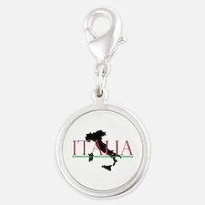 Italia: Italian Boot Silver Round Charm