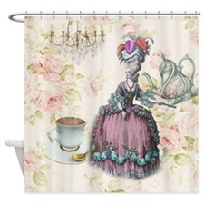 marie antoinette paris floral tea party Shower Cur