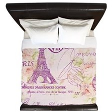elegant paris Eiffel tower floral art King Duvet