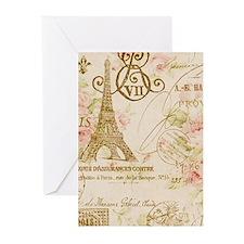elegant paris Eiffel tower floral art Greeting Car