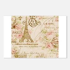 elegant paris Eiffel tower floral art Postcards (P