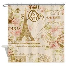elegant paris Eiffel tower floral art Shower Curta
