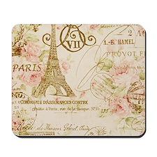 elegant paris Eiffel tower floral art Mousepad